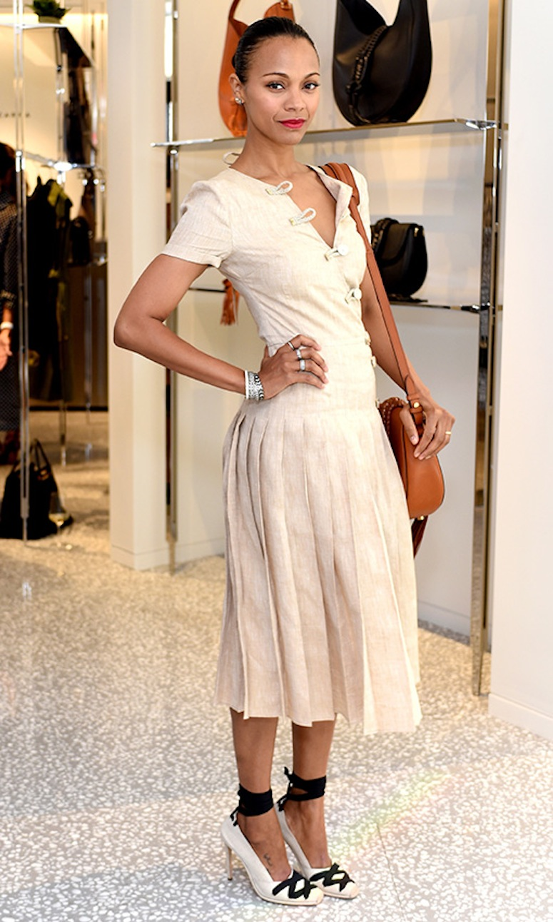 BEVERLY HILLS, CA - SEPTEMBER 24:  Actress Zoe Saldana attends Joseph Altuzarra Luncheon hosted by Barneys New York, Zoe Saldana, and Petra Flannery at Barneys New York Beverly Hills on September 24, 2015 in Beverly Hills, California.  (Photo by Stefanie Keenan/Getty Images for Barneys New York)